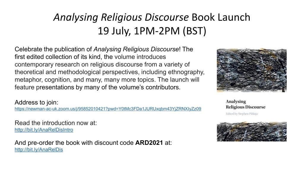 Analysing Religious Discourse book launch